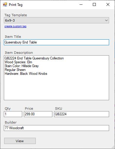 Print tag form